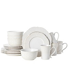 abby white 16 pc dinnerware set, service for 4