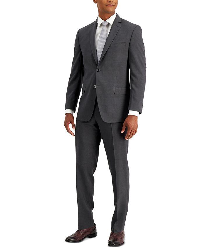 Marc New York - Men's Modern-Fit Light Gray & Lavender Windowpane Suit