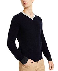 Men's Colorblocked V-Neck Pullover Sweater