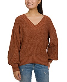 Juniors' Chenille Balloon Sleeve Sweater