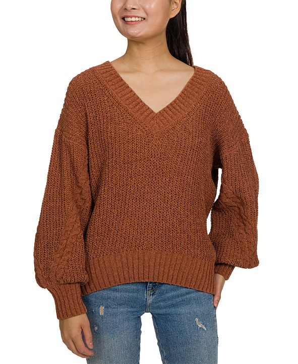 Hippie Rose Juniors' Chenille Balloon Sleeve Sweater