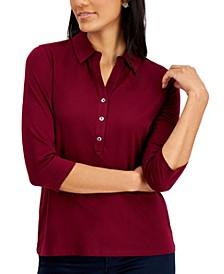 Petite Supima® Cotton 3/4-Sleeve Polo, Created for Macy's