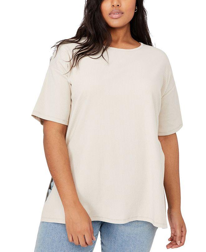 COTTON ON Trendy Plus Size Bella Oversize Rib Short Sleeve Top