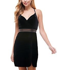 Juniors' Velvet Lace-Back Dress