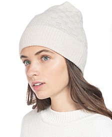 Check-Knit Cashmere Beanie, Created for Macy's