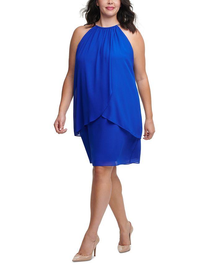 Jessica Howard - Plus Size Halter Chiffon Sheath Dress
