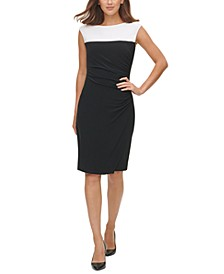 Colorblocked Side-Ruched Sheath Dress