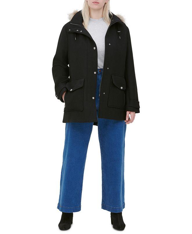 Marc New York Plus Size Faux-Fur-Trim Hooded Coat