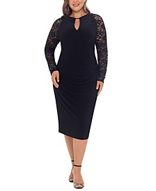 Plus Size Lace-Sleeve Sheath Dress