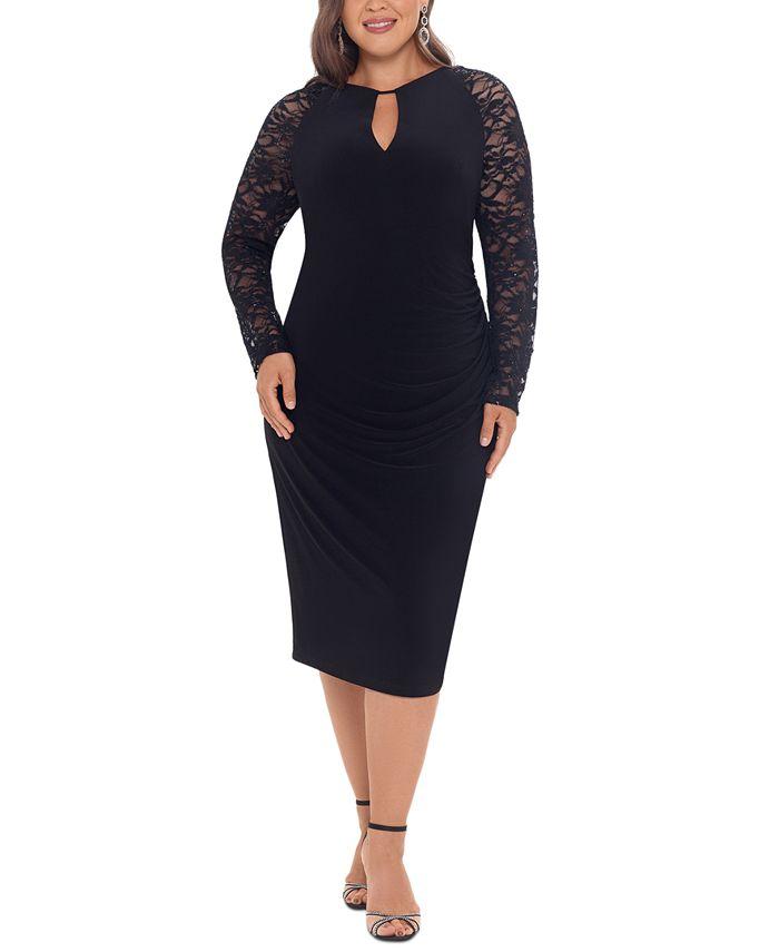 Betsy & Adam - Plus Size Lace-Sleeve Sheath Dress