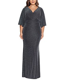 Plus Size Dolman-Sleeve Metallic Gown
