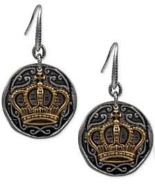 Two-Tone Crown & Crest Drop Earrings