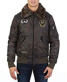 Men's Flight Jacket with Detachable Fur Collar