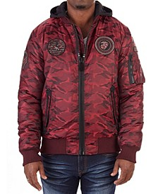 Men's Patched Bomber Jacket with Detachable Hood