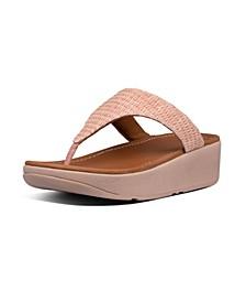 Women's Imogen Basket Weave Toe-Thong Wedge Sandal