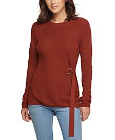 Tie-Side Crewneck Sweater