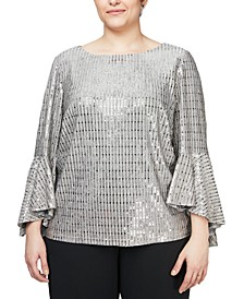 Plus Size Metallic-Knit Blouse