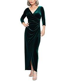 Petite Velvet Surplice Dress With Tulip Overlay