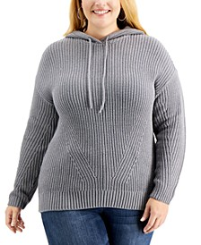 Plus Size Ribbed Hoodie Sweater, Created for Macy's