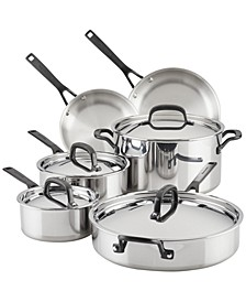 Polished Stainless Steel 10-Pc. Cookware Set