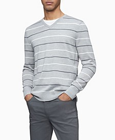 Merino Double Stripe V-Neck Sweater