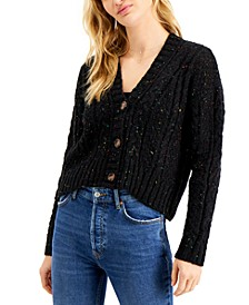 Juniors' Cropped Button-Front Cardigan