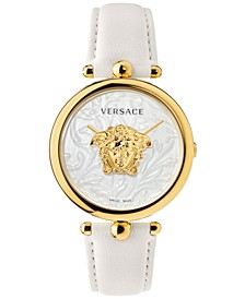 Women's Swiss Palazzo Empire Barocco White Leather Strap Watch 39mm