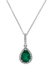Brasilica by EFFY Emerald (9/10 ct. t.w.) and Diamond (1/8 ct. t.w.) Drop Pendant in 14k White Gold, Created for Macy's
