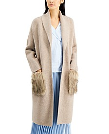Faux-Fur Pocket Open Cardigan, Created for Macy's