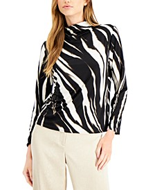 Zebra-Print Funnel-Neck Top, Created for Macy's