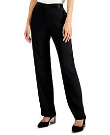 Petite Jacquard Straight-Leg Pants, Created for Macy's