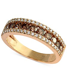 Espresso by EFFY® Brown and White Diamond Three-Row Ring (7/8 ct. t.w.) in 14k Gold