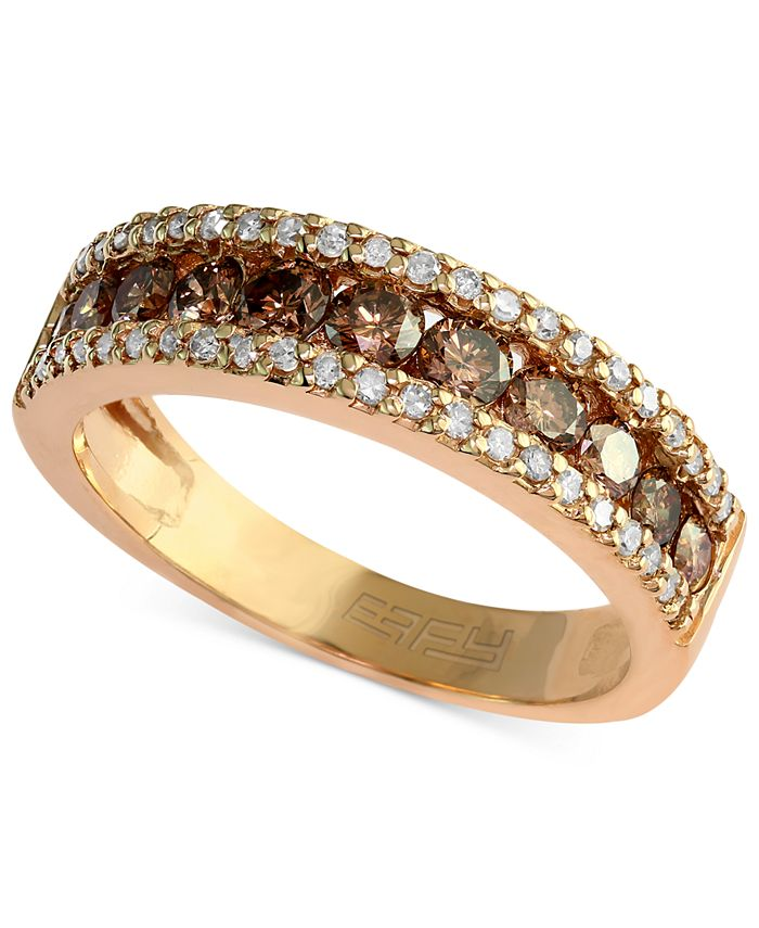 EFFY Collection - Brown and White Diamond Three-Row Ring (7/8 ct. t.w.) in 14k Gold