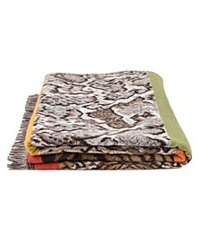 Women's Double Jacquard Leopard Scarf with Tassels
