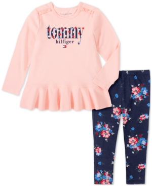 TOMMY HILFIGER BABY GIRLS 2-PC. FLORAL-PRINT LOGO TUNIC & LEGGINGS SET