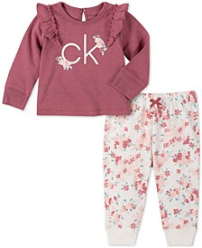 Baby Girls 2-Pc. Floral Logo-Print Sweatshirt & Jogger Pants Set