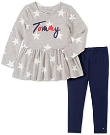 Baby Girls 2-Pc. Star-Print Peplum Tunic & Leggings Set