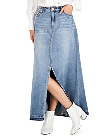 INC Cotton Denim Maxi Skirt, Created for Macy's