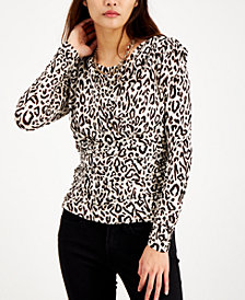 INC Ruched Puff-Sleeve Top, Created for Macy's