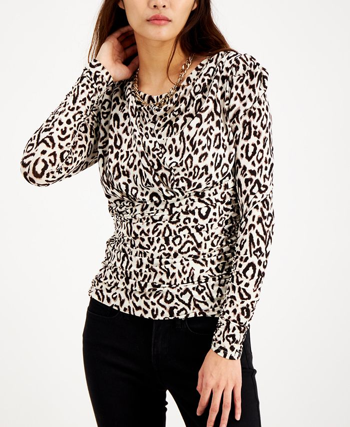 INC International Concepts - Ruched Puff-Sleeve Top
