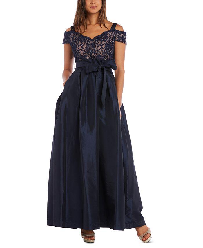 R & M Richards - Lace Cold-Shoulder Gown