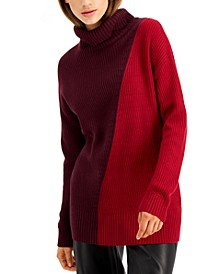 Asymmetrical-Print Ribbed Turtleneck Sweater, Created for Macy's