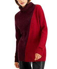 Alfani Asymmetrical-Print Ribbed Turtleneck Sweater, Created for Macy's