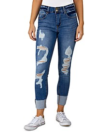 Juniors Distressed Roll Cuff Jeans