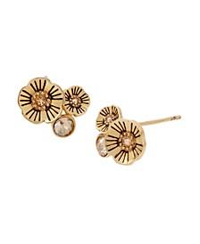 Tea Rose Swarovski® Crystals Cluster Stud Earrings