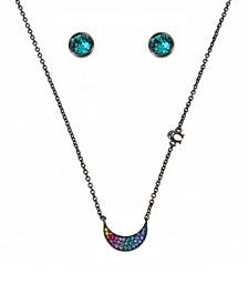 "Moon Swarovski® Crystal Necklace and Stud Earrings Set, 16"" + 2"" extender"
