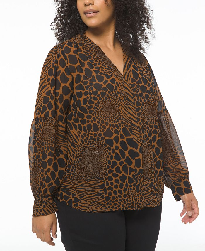 Michael Kors - Plus Size Graphic Animal-Print Top