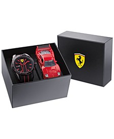 Men's Red Rev Black Silicone Strap Watch 44mm Gift Set