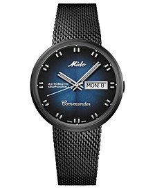 Men's Swiss Automatic Commander Shade Black PVD Stainless Steel Mesh Bracelet Watch 37mm