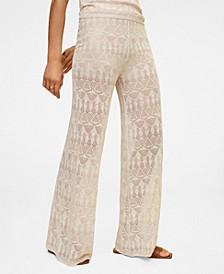 Openwork Detail Linen Trousers